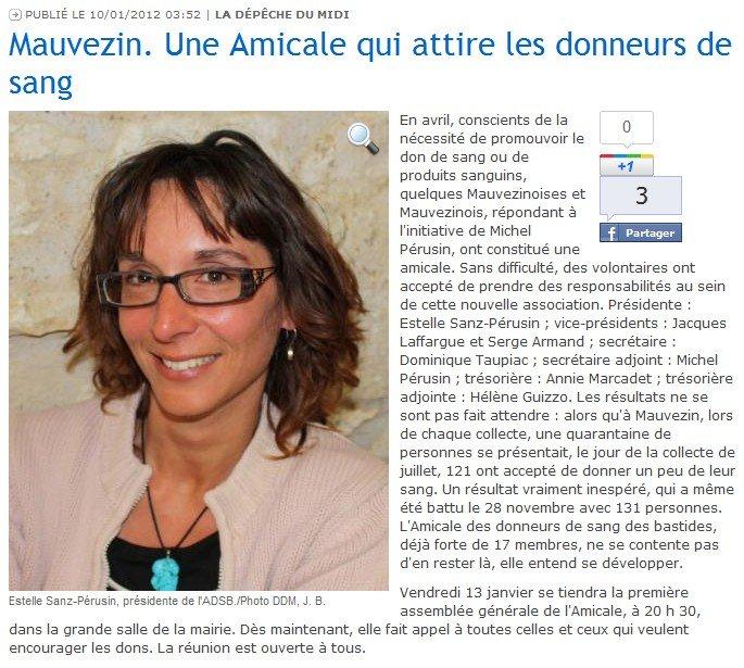 Mauvezin. Une amicale qui attire les donneurs de sang (La Dépêche du Midi) dans Revue de presse depeche-201201101